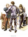 Knights arming, 1450s