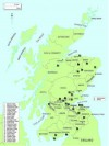 The key castles and tower houses in Scotland mentioned in the text. The county boundaries are the pre-1974 ones.