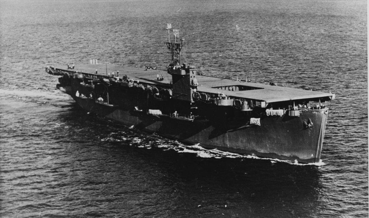 The escort carrier USS Bogue sank its first of  eleven submarines in May 1943. (USNHHC)