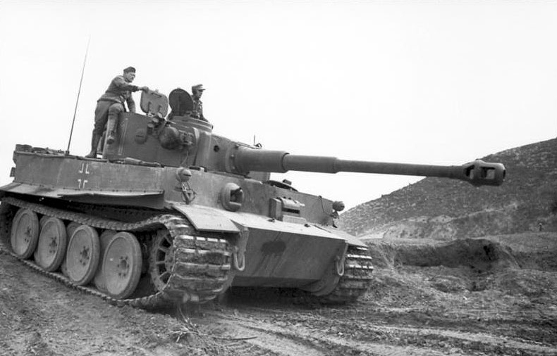 A German Tiger tank on the move, in Tunisia January 1943