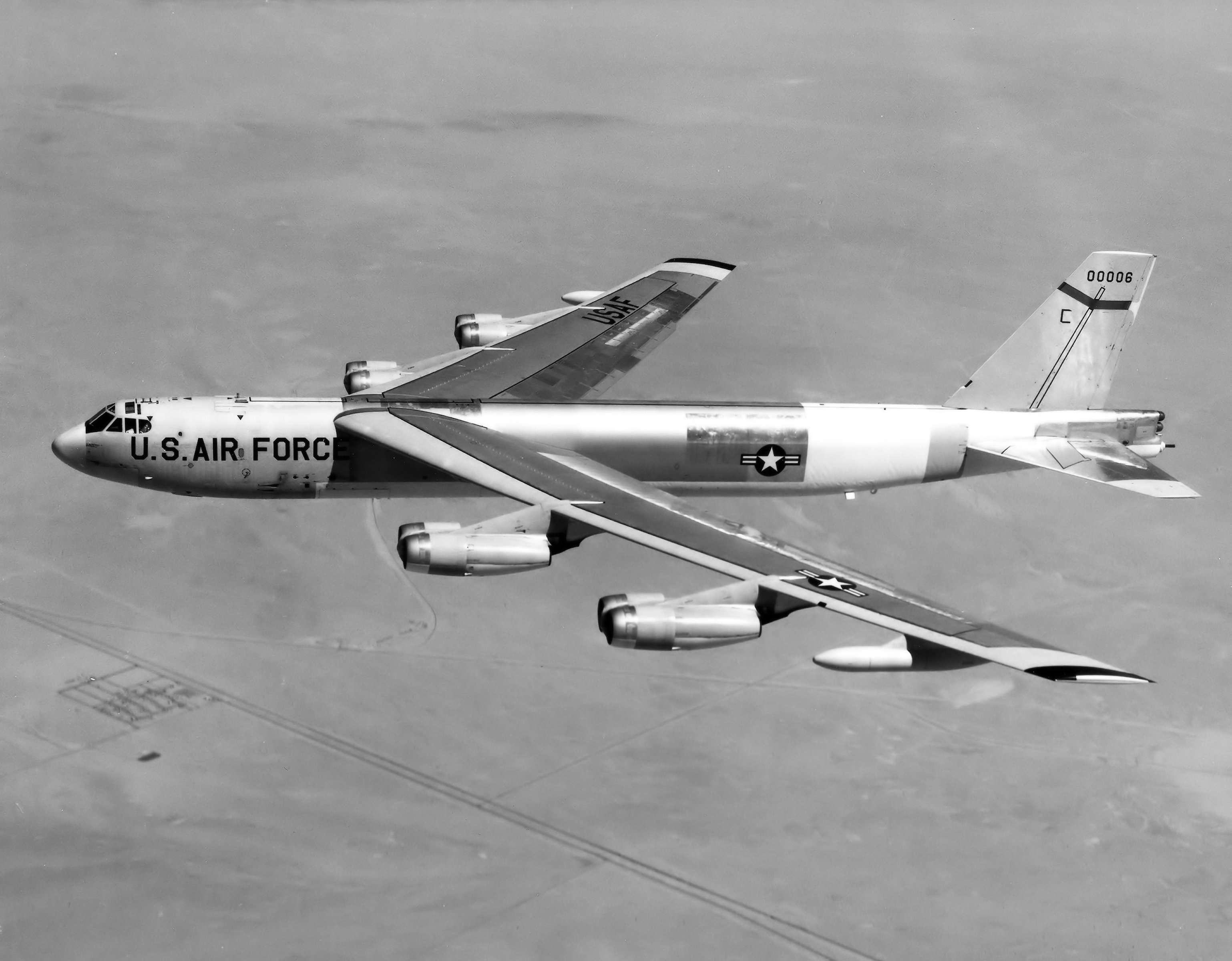 The eight-engine Boeing B-52 Stratofortress exemplified America's global nuclear reach; here is a B-52H (SN 60-0006) during flight testing