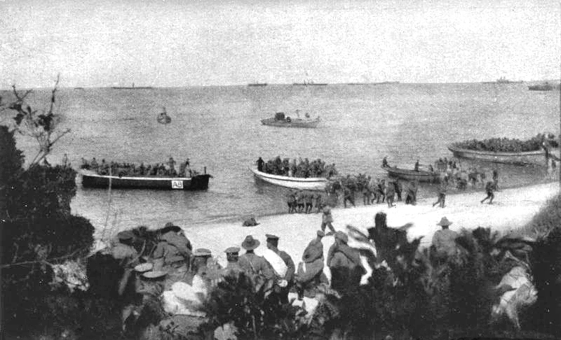 Allied forces landing on Anzac Beach.