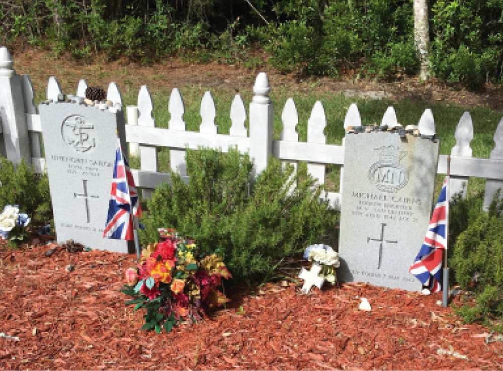 The graves of two WWII British sailors on Hatteras Island, North Carolina, US.