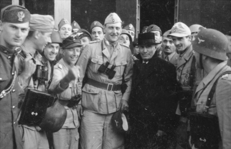 Otto Skorzeny with a liberated Mussolini