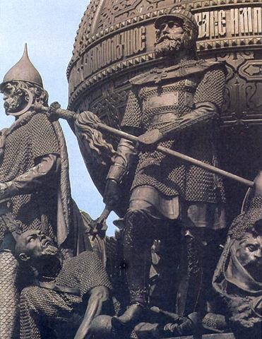 Dmitriy Donskoi and the defeated warrior of the Golden Horde.
