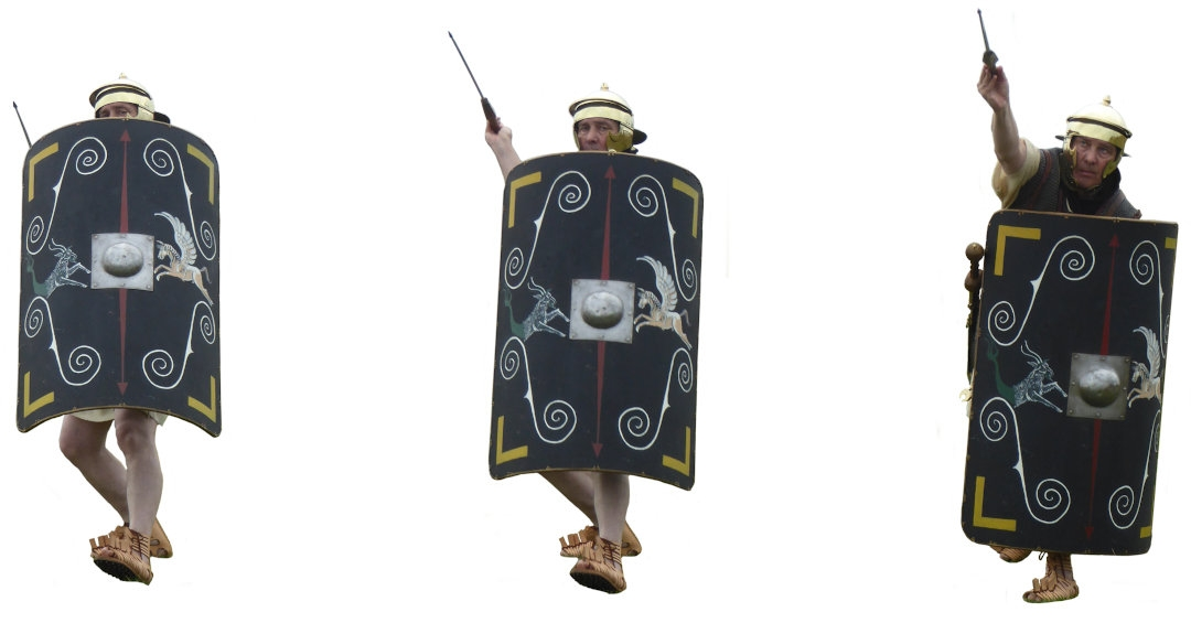 Using the shield as a counterweight when throwing the pilum