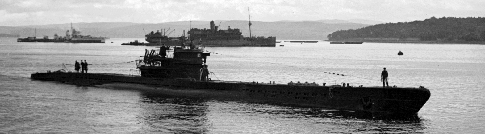 U-1105 in Holy Loch during its trials by the Royal Navy