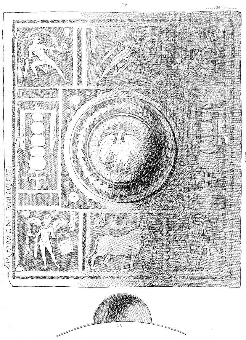 Stacking equipment on shields; cast of a relief from Trajan's Column