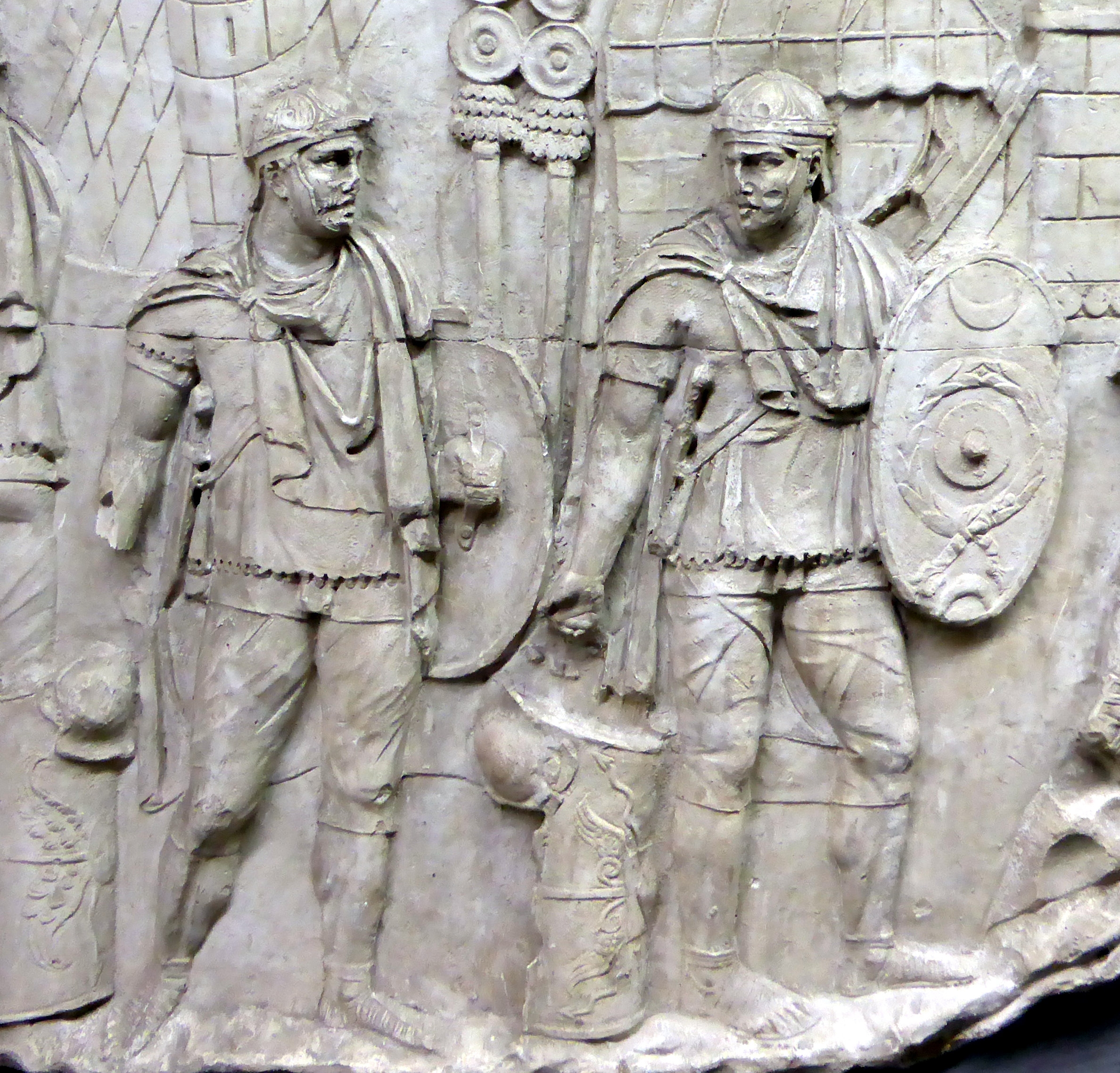 Using the testudo to attack a city; cast of a relief from Trajan's Column