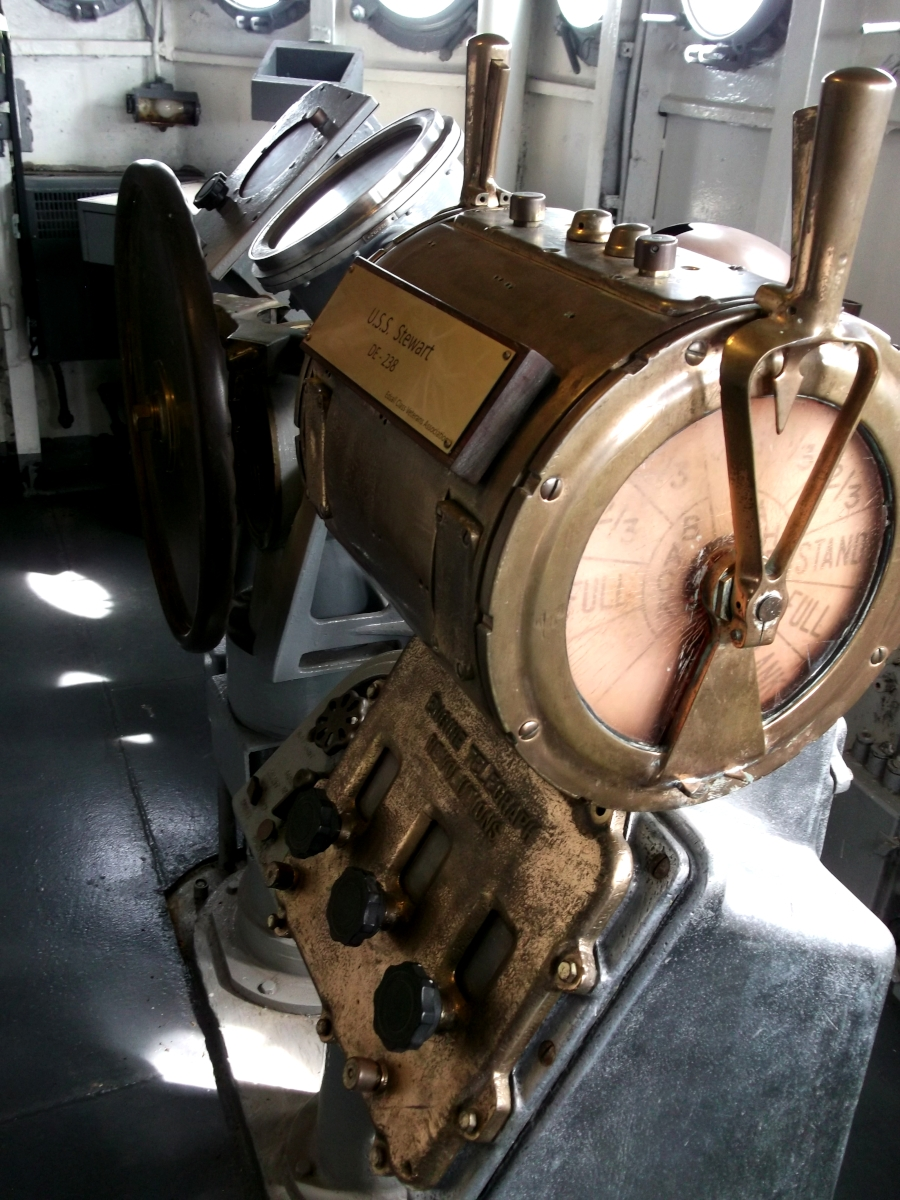 Inside the bridge of Stewart. This is the engine room telegraph. (Author  Photo)