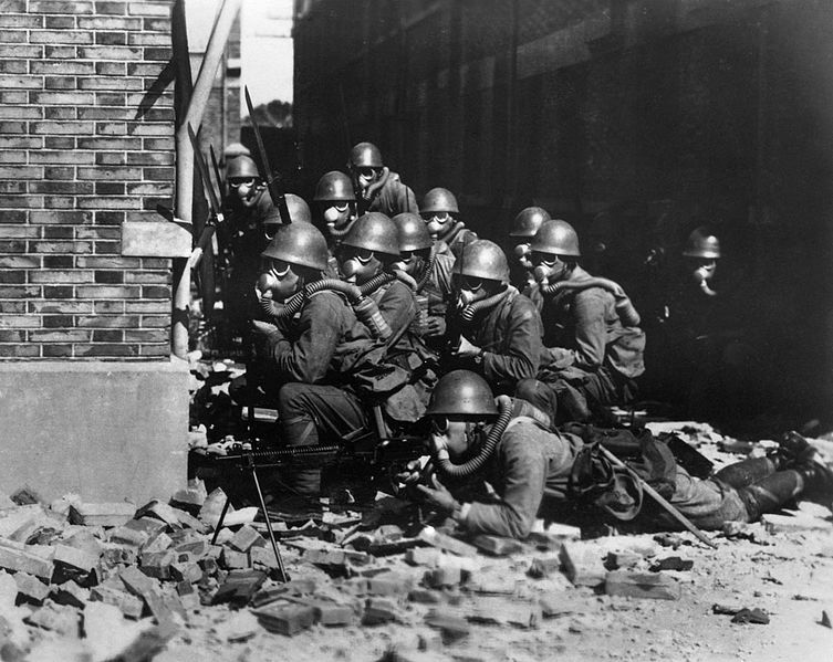 The Imperial Japanese Navy (IJN) Special Naval Landing Forces troops in gas masks