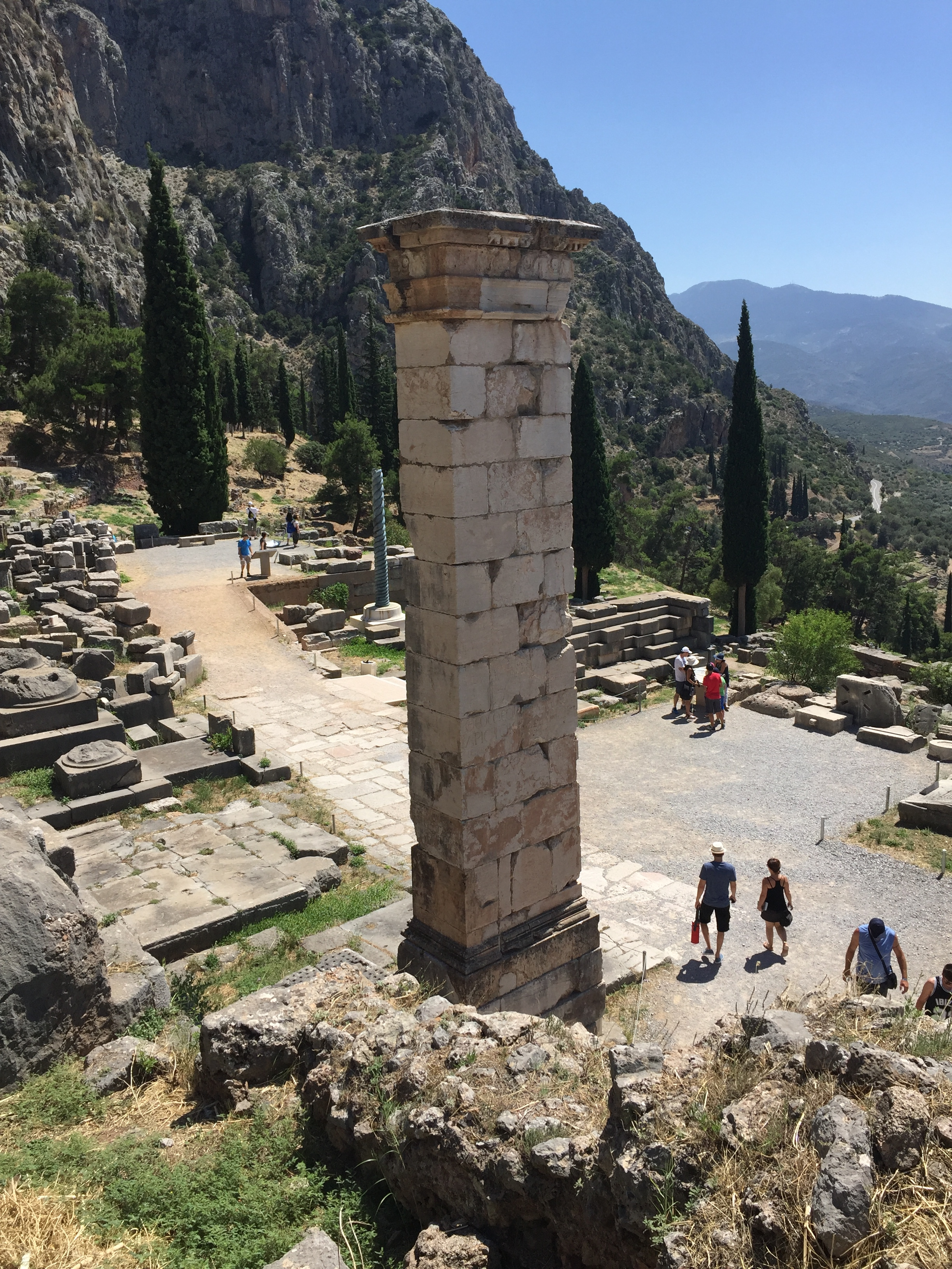 The pillar which originally hosted the Aemilius Paulus monument, right beside the Temple of Apollo at Delphi.