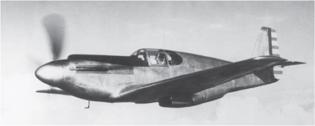 """As clean as a hound's tooth!"" The North American NA-73X, the founding father of the long and successful Mustang line. (NAA)"