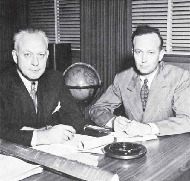 "President of the North American Aviation Company, James H. ""Dutch"" Kindelberger (left), and his vice-president, John Leland Atwood, in formal pose in 1942. ""Dutch"" became NAA's president and general manager in 1934 when the company was first formed. Later promoted to chairman in 1948, he remained in this position until his death in July 1962. (NAA)"