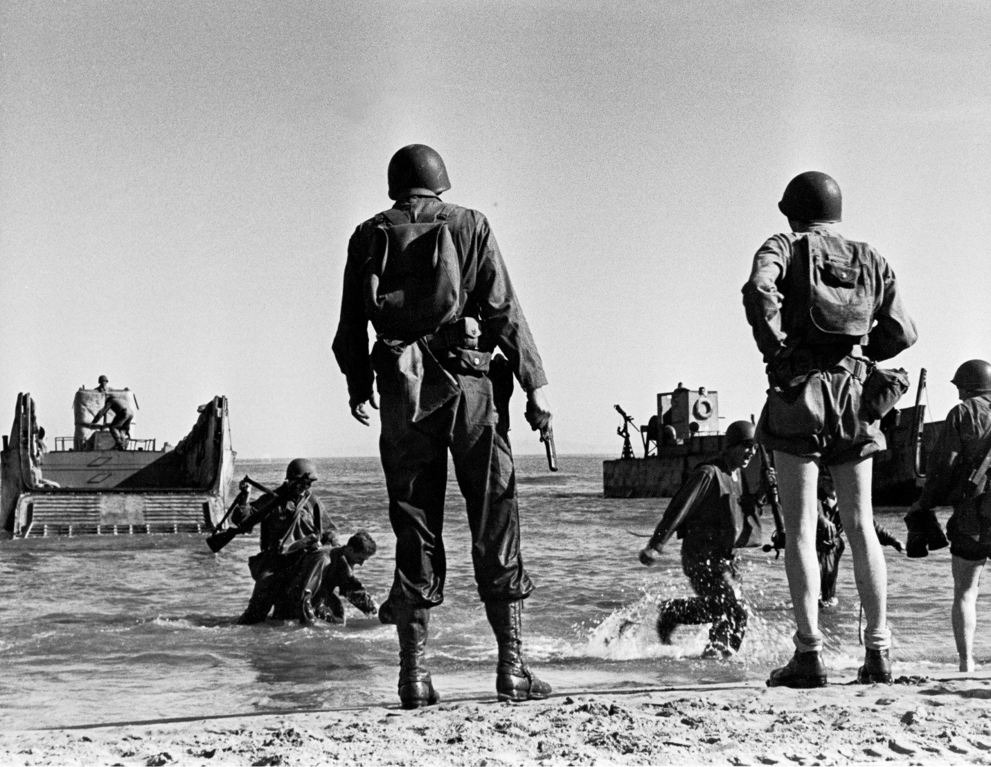 Rangers disembark onto the landing beach in North Africa