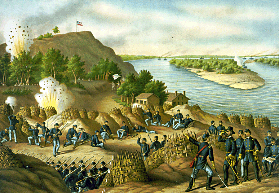 Vicksburg - 13, 15, & 17 Corps, Commanded by Gen. U.S. Grant, assisted by the Navy under Admiral Porter--Surrender, July 4, 1863, by Kurz and Allison
