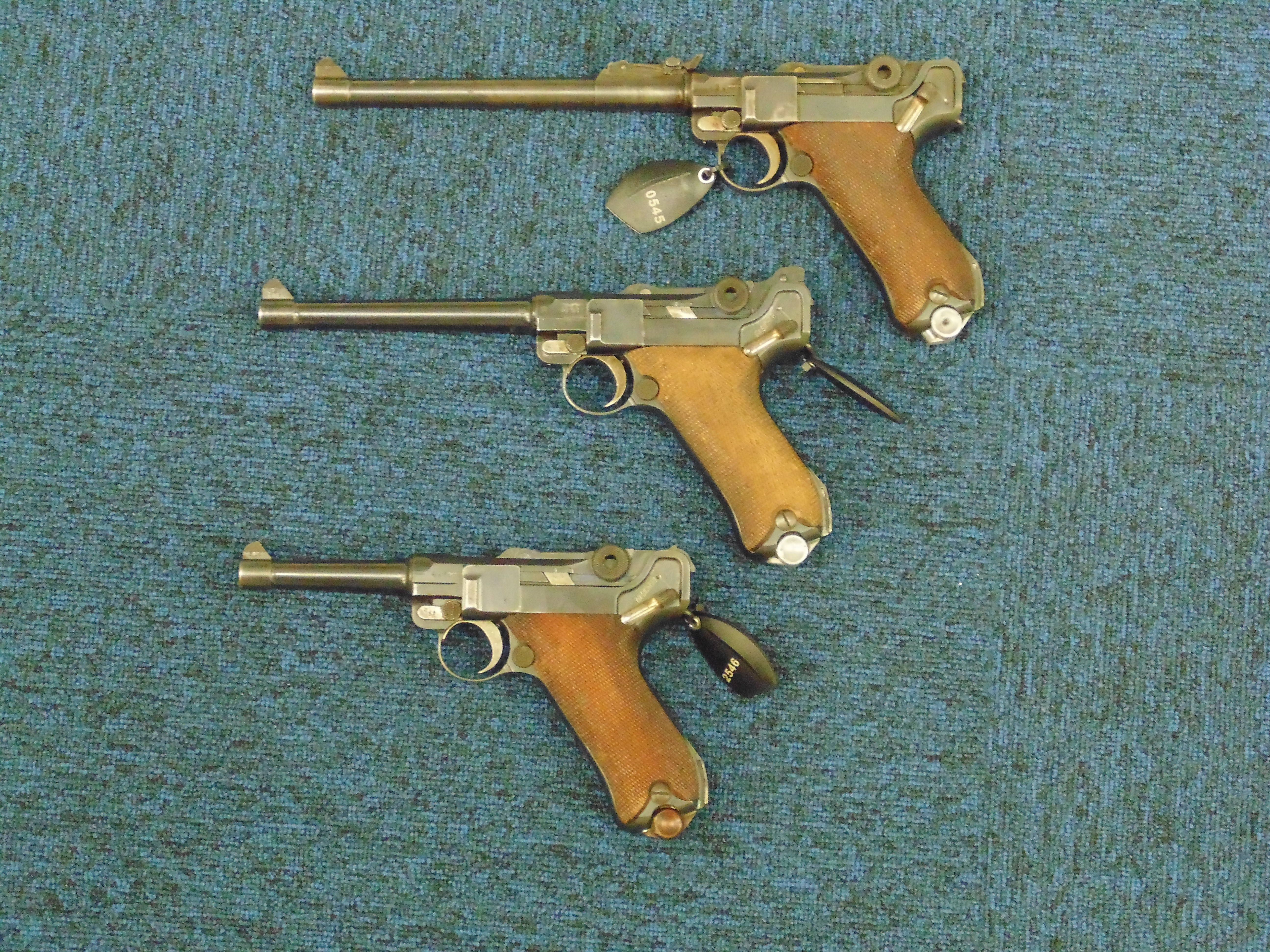 - German service Lugers - the 100mm P08, the 150mm Naval P04 and the 200mm Lange Pistol 08.